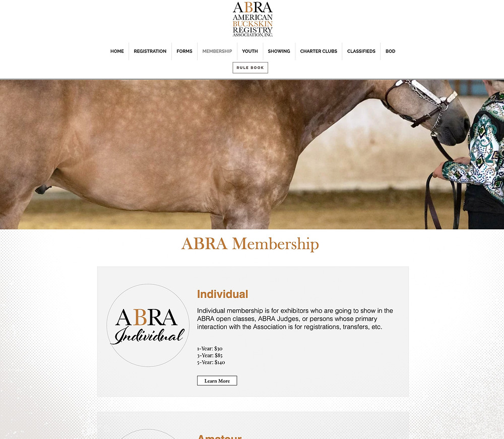 Screenshot of the ABRA membership website page