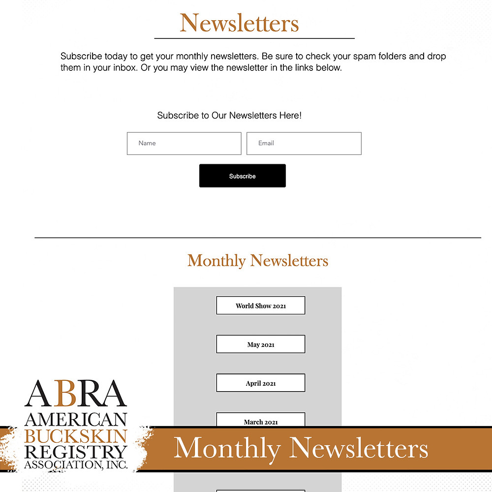 ABRA website Newsletters page
