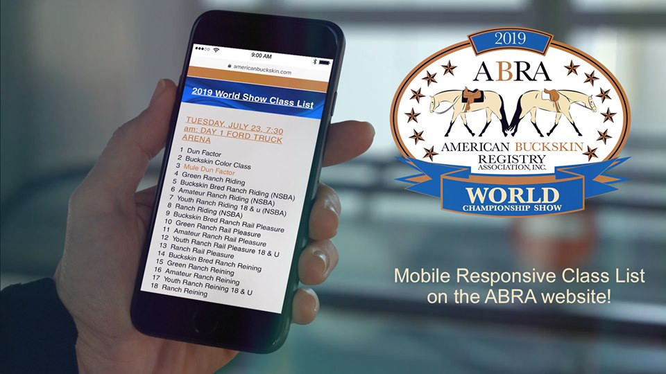 mobile phone mock up with ABRA World Show class list