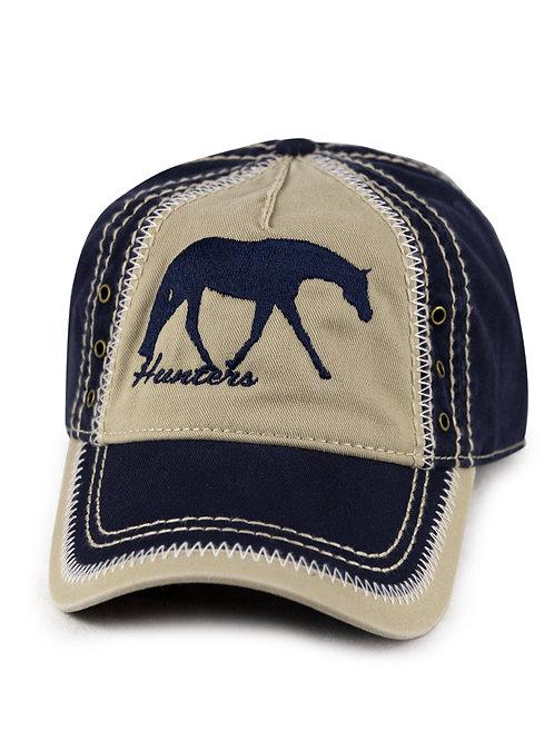 Hunt Seat/English Horse on navy/khaki vintage looking baseball cap/hat