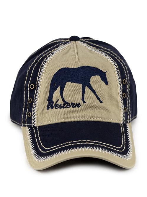 Western PleasureHorse on navy/khaki vintage looking baseball cap/hat
