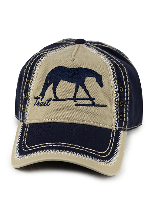 Trail Horse embroidered on navy/khaki vintage looking baseball cap/hat