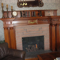 Man in the fireplace