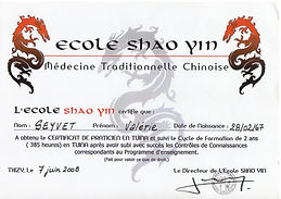 certificat tuina école shao yin valérie seyvet