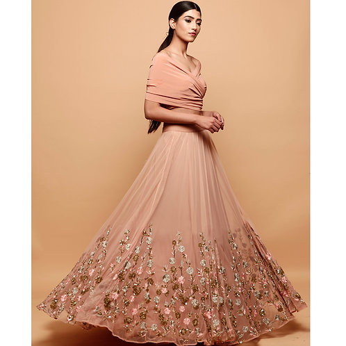Off Shoulder Peach Lehenga