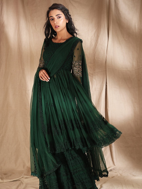 Emerald Green Threadwork With Jacket