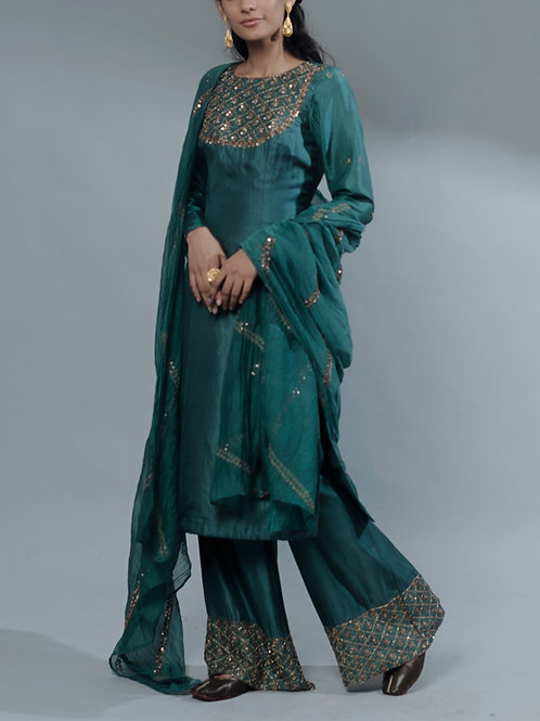 Pastel Green Long Kurti With Plazzo
