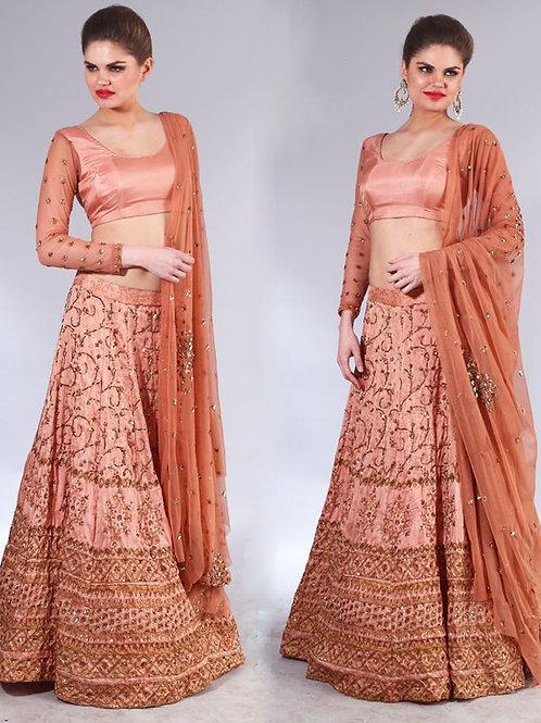 Rose gold sequins embroidered Lehena