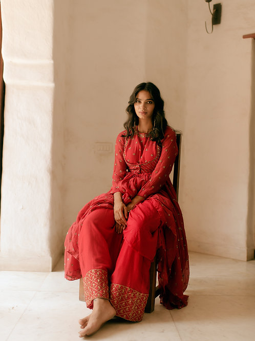 Red Anarkali with Coti work