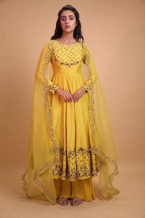 Yellow Mustard Anarkali with Yellow Dupatta