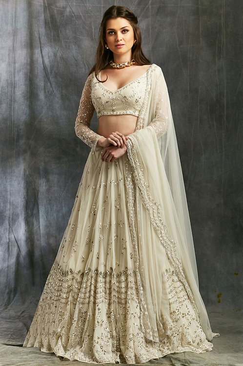 White and Silver Sequin Net Lehenga
