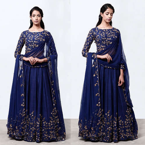 Navy Blue Lehenga With Floral Jaal Blouse
