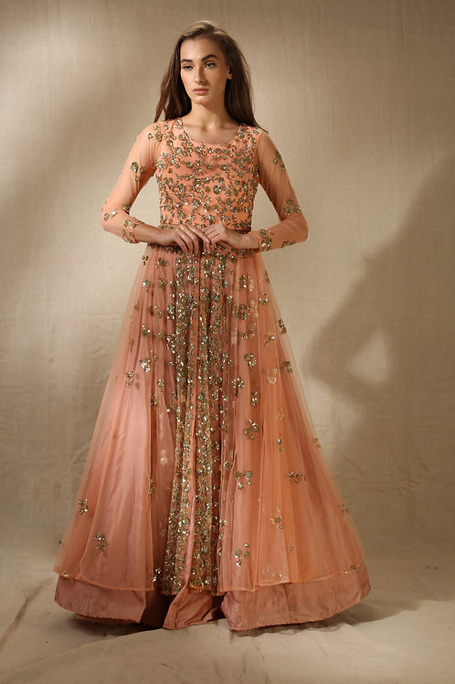 Coral and Gold Shimmer Sequins Jacket Kurta with Flared Skirt