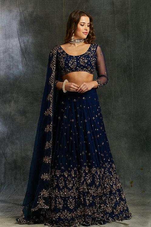 Midnight Blue Net Sequin Shimmer Lehenga