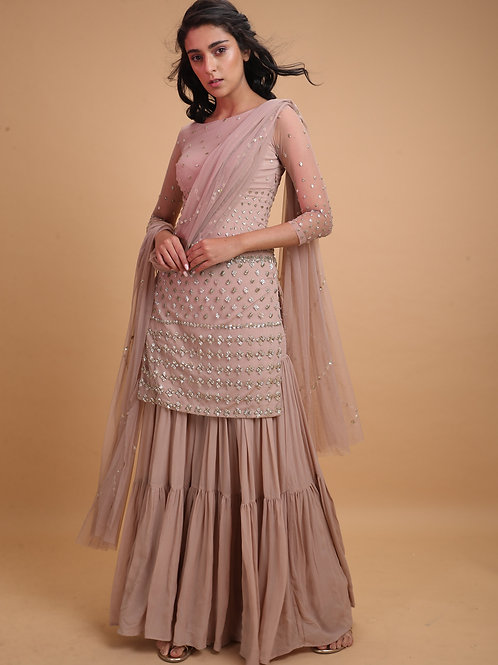 Onion pink kurta with garrara