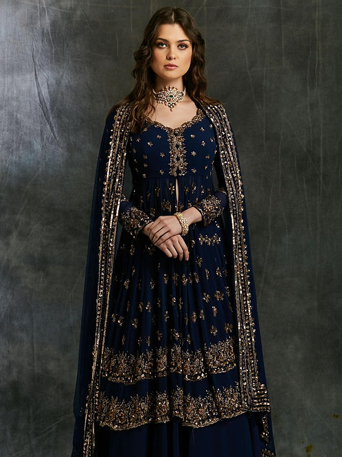 Dark Blue Gold Jacket with Plain Sharara