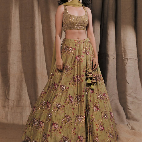 Leaf Green Floral Printed Lehenga Set