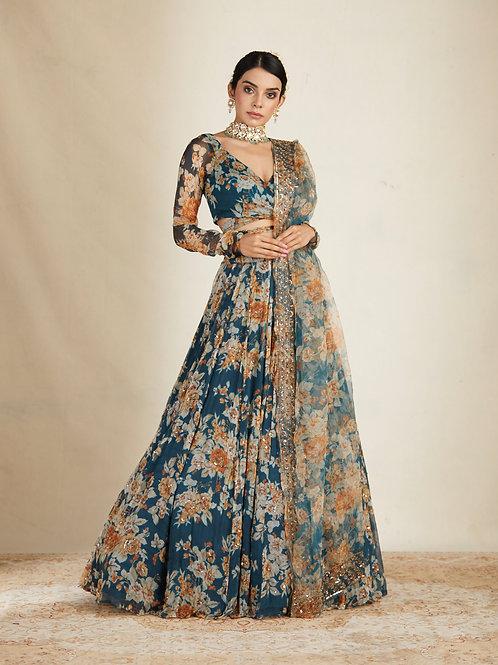 Teal Blue Floral Printed Lehenga