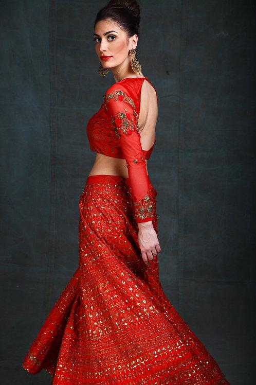 Red block Print gold embroidered Lehenga