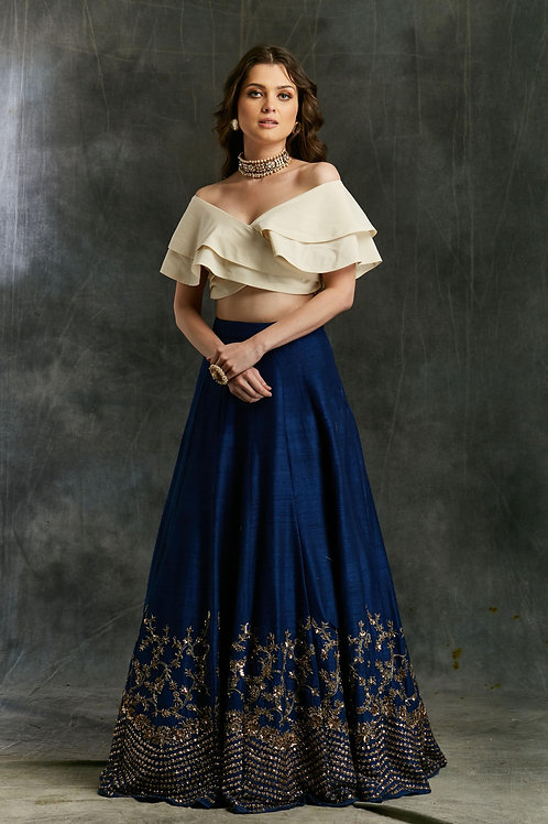 Blue Border Lehenga with Off Shoulder Crop Top