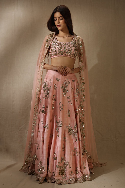 Pink Sequins and Zari Work Lehenga