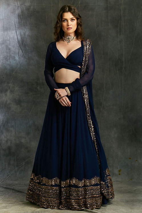 Dark Blue Georgette Lehenga with Wrapped Blouse
