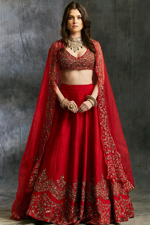 Red Raw Silk Lehenga with Gold Border