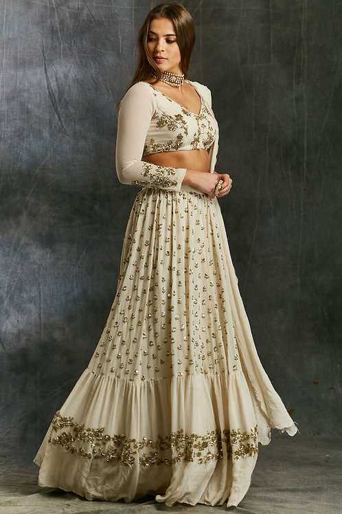 White and Gold Georgette Sharara Set