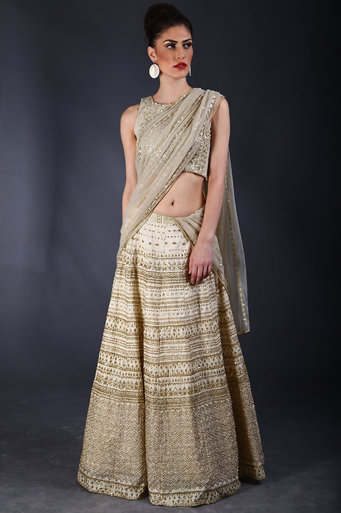 Cream sequins embellished Lehenga