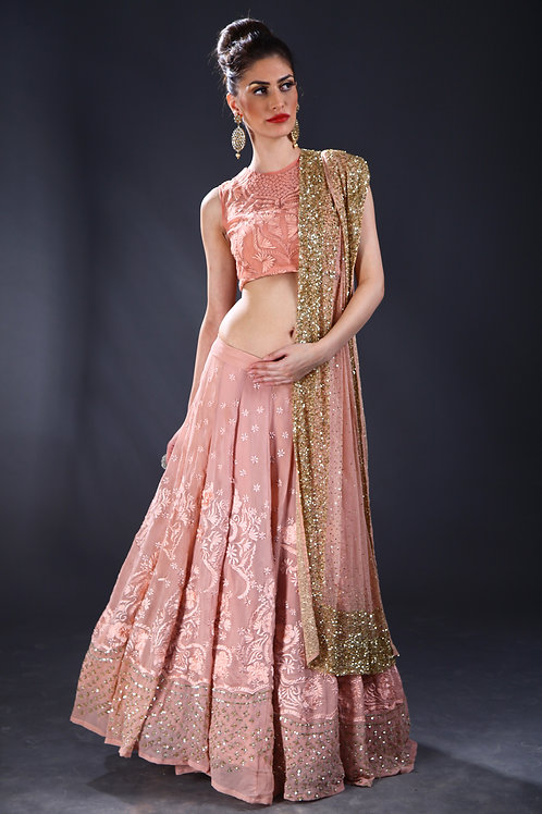 Peach thread and sequins embroidered Lehenga