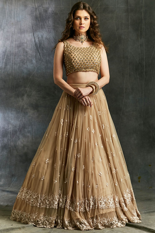 Beige Threadwork Lehenga with Shimmer Choli