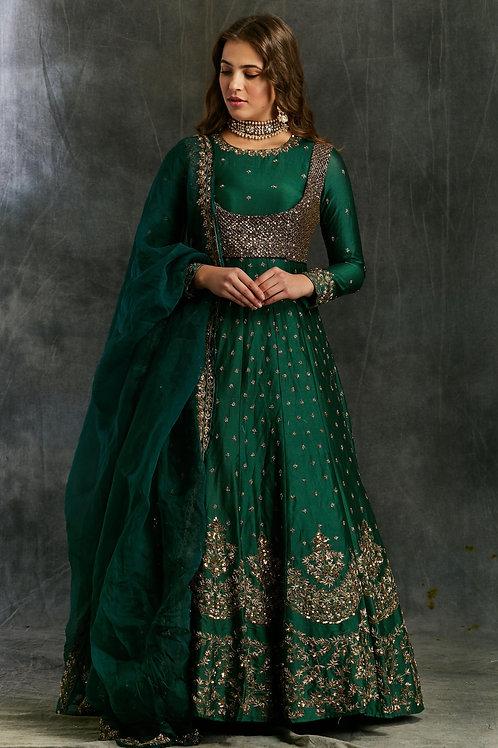 Dark Green Emerald Anarkali with Black Koti