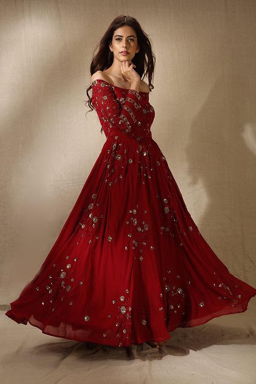 Red Floral Work Off Shoulder Anarkali Gown