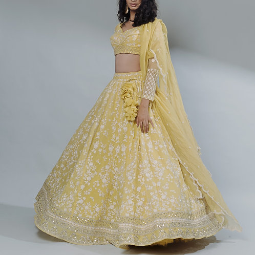Lemon Yellow Thread Work Lehenga Set