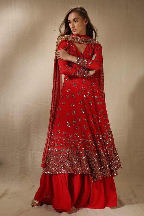 Red Angarkha Anarkali with Flared Pants
