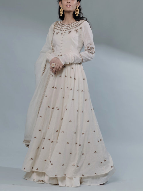 White Anarkali With Sequin Work