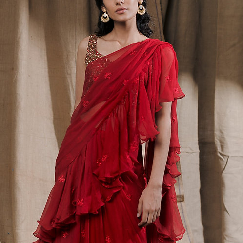Red Ruffle Drape Saree