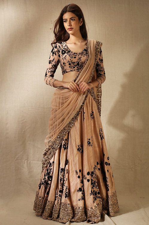 Peach and Black Floral Lehenga