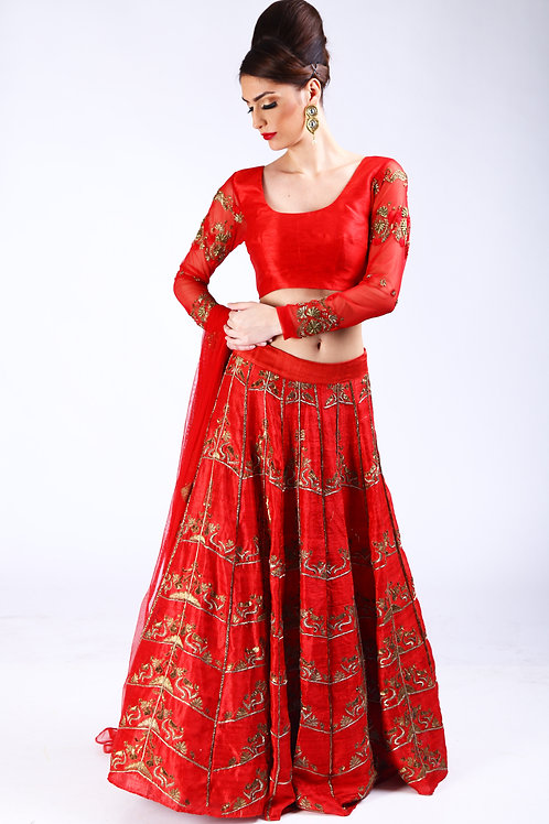 chilli Red antique gold embroidered Lehenga