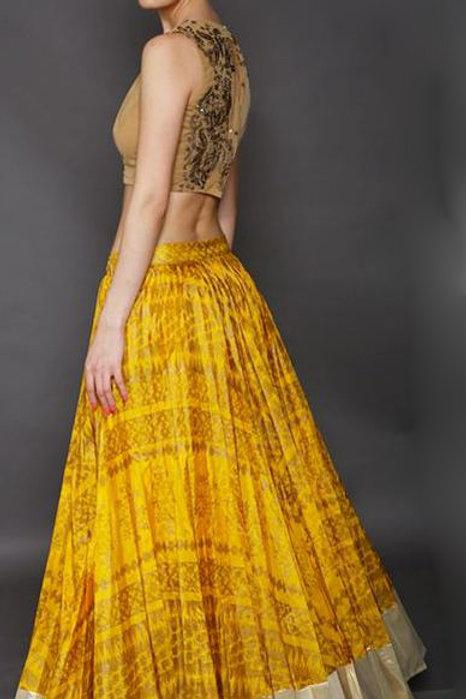 yellow block Printed Lehenga