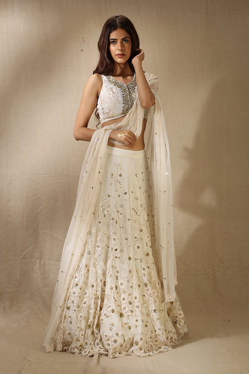 White Sequins Floral Work Lehenga