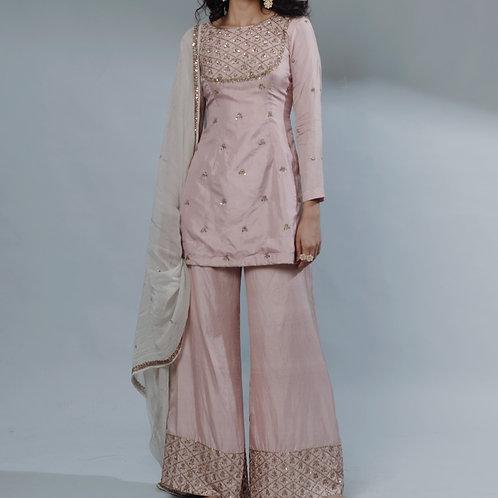 Pink Chanderi Straight Suit Set