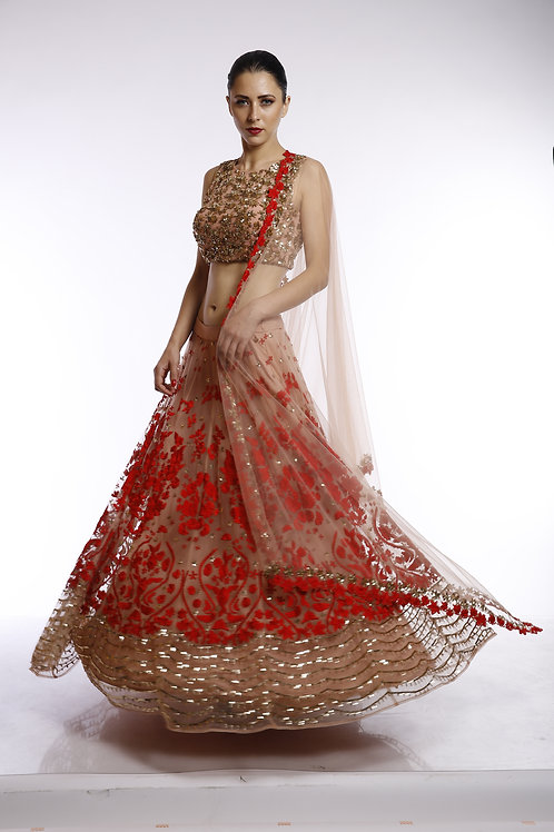 Peach and red floral thread and squins embroidered lehenga