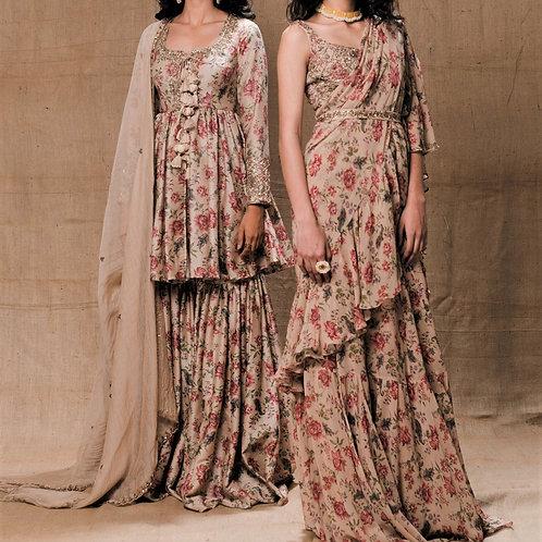 Beige Floral Printed Drape Saree