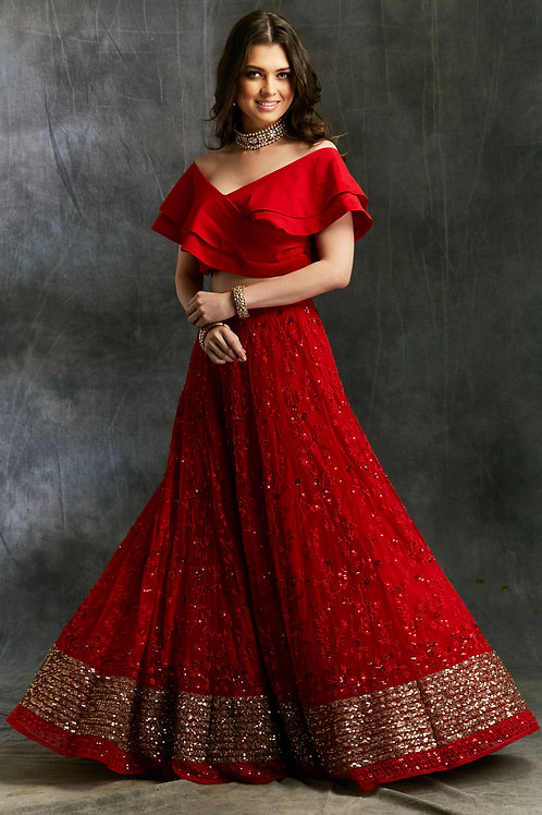 Off Shoulder Crop Top with Red Embroidered Lehenga