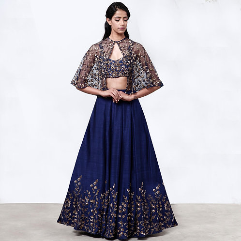Navy Blue Lehenga With Cape