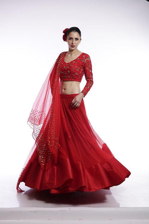 Red embroidered Lehenga