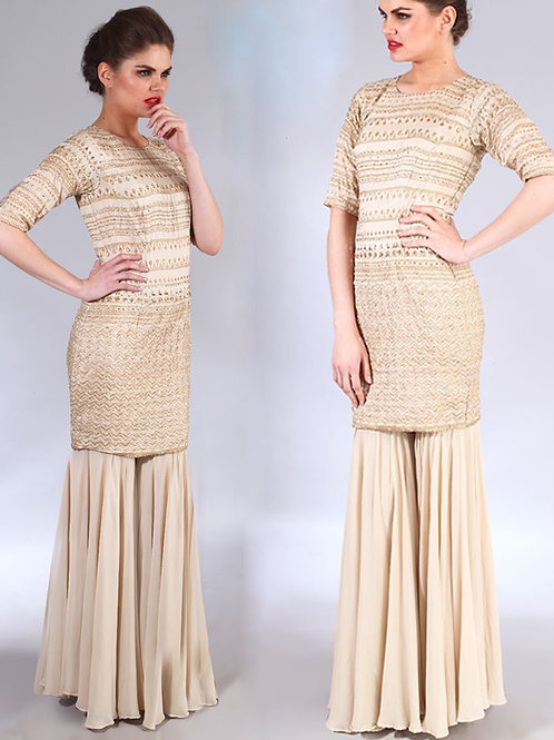 off white and gold embroidered kurta with gharara set