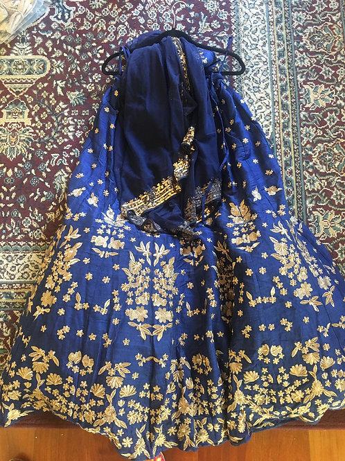 Dark blue Zari Lehenga with dupatta