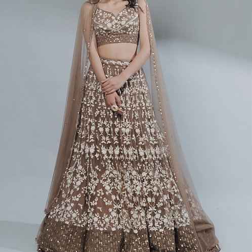 Coffee Thread Work Lehenga Set